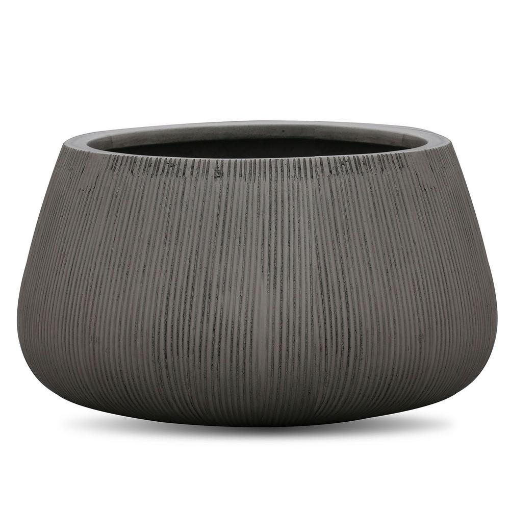 Vasesource 8.5 in. x 14.2 in. FiberStone Gray Horizontal Line Bowl Planter