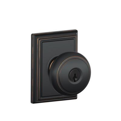 Andover Aged Bronze Keyed Entry Door Knob with Addison Trim