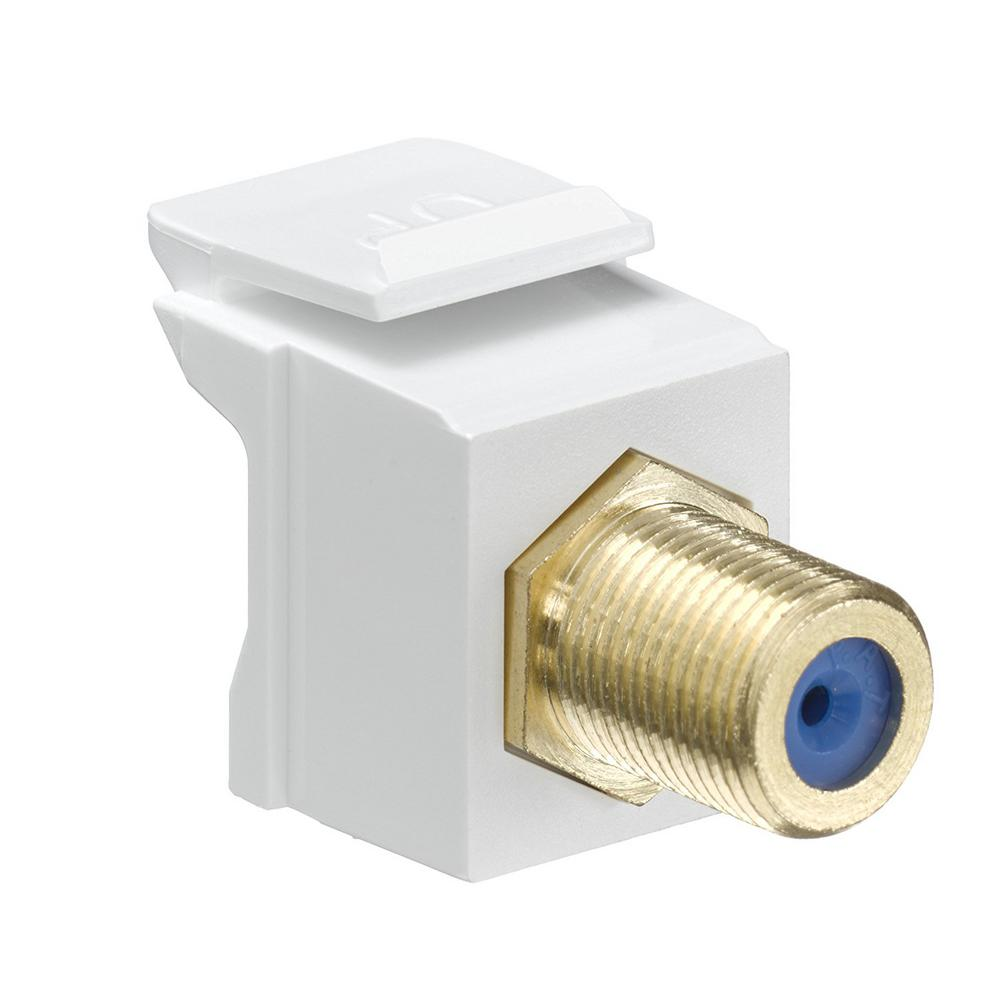 QuickPort F-Type Gold-Plated Connector, White