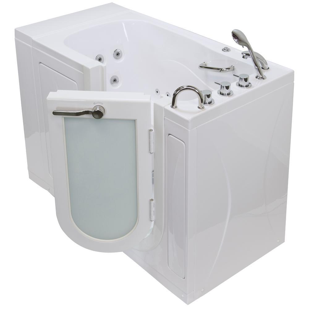 Monaco Acrylic 52 In. Walk In Whirlpool MicroBubble Tub In White Heated