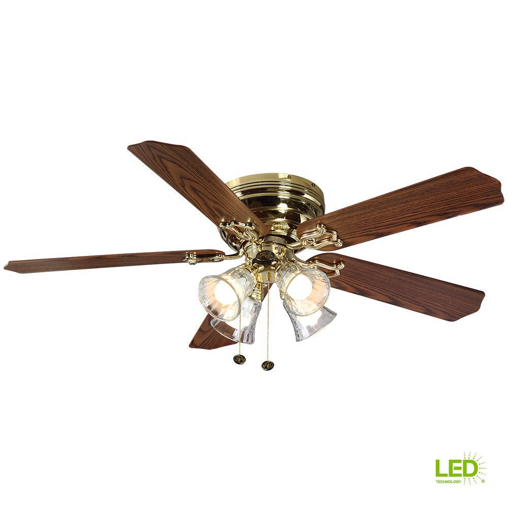 hampton bay carriage house 52 in led indoor polished brass ceiling fan with light kit 46008. Black Bedroom Furniture Sets. Home Design Ideas
