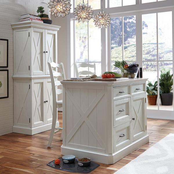 Homestyles Seaside Lodge Hand Rubbed White Kitchen Island And 2