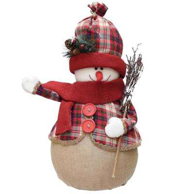 22 in. Red and Brown Plaid Snowman with Broom Scarf and Hat Table Top Christmas Figure