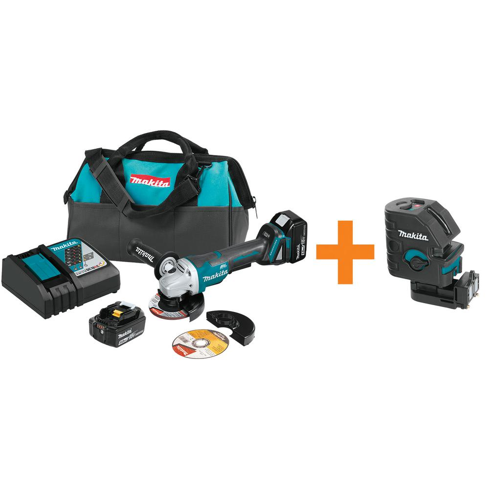 18-Volt 5.0Ah LXT Brushless Cordless 4-1/2 in./5 in. Cut-Off/Angle Grinder Kit