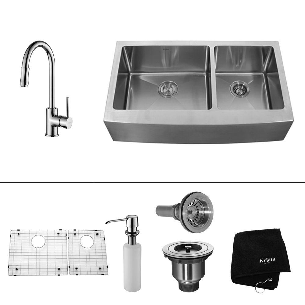 KRAUS All-in-One Farmhouse Apron Front Stainless Steel 33 in. Double Basin Kitchen Sink with Faucet and Accessories in Chrome