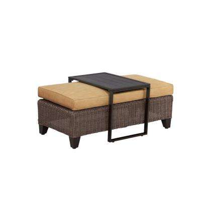 Vineyard Patio Ottoman/Coffee Table with Toffee Cushion -- CUSTOM