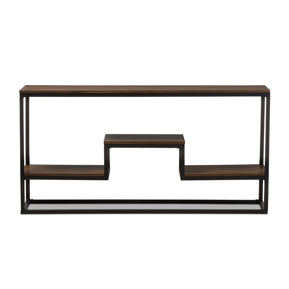 Doreen Vintage Industrial Medium Brown Wood Console Table