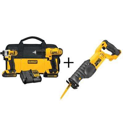 20-Volt MAX Lithium-Ion Cordless Combo Kit (2-Tool) with Bonus Bare Reciprocating Saw