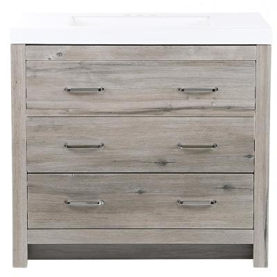 Woodbrook 37 in. W Bathroom Vanity in White Washed Oak with Cultured Marble Vanity Top in White with White Sink