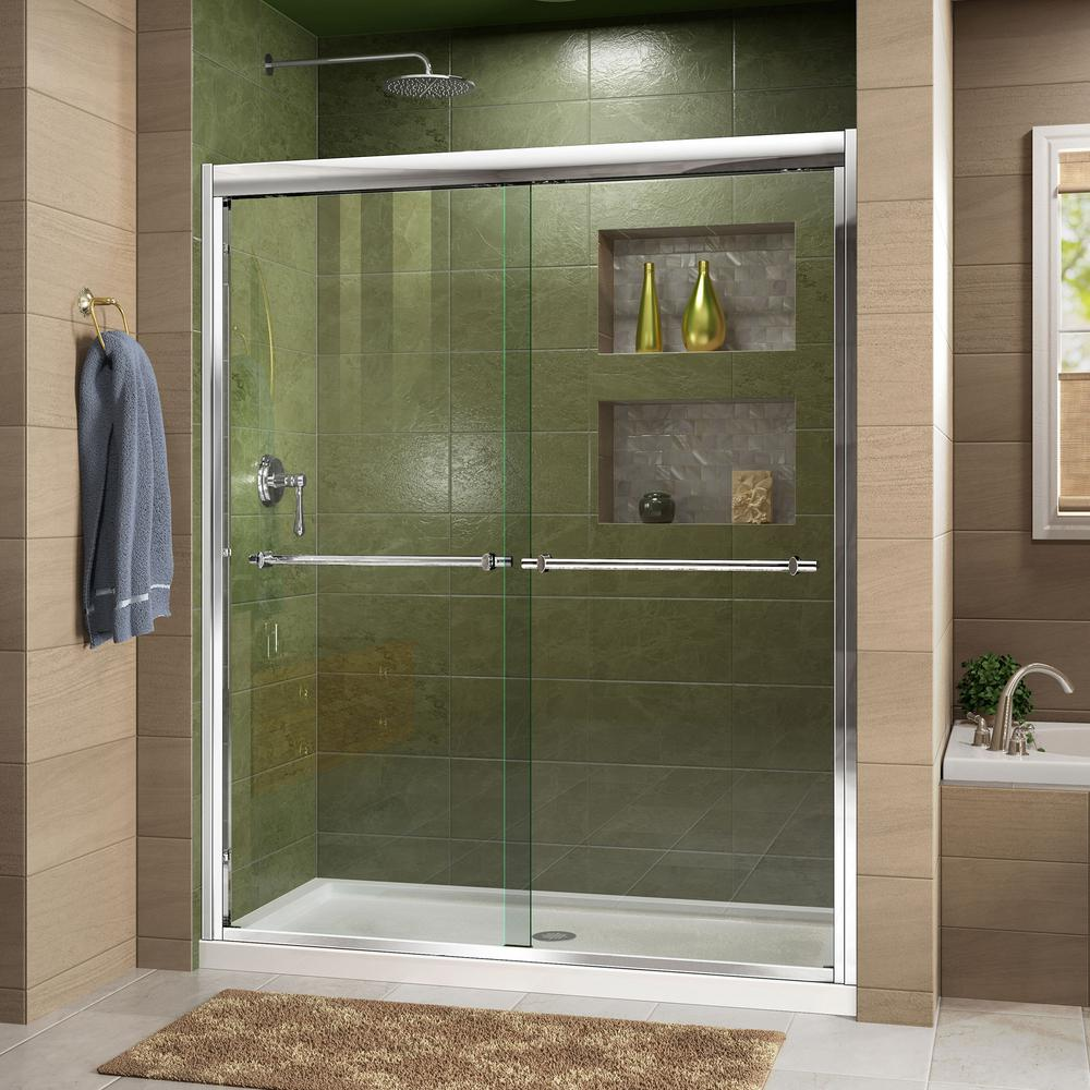 DreamLine Duet 36 in. x 48 in. x 74.75 in. Framed Sliding Shower Door in Chrome with Center Drain White Acrylic Base