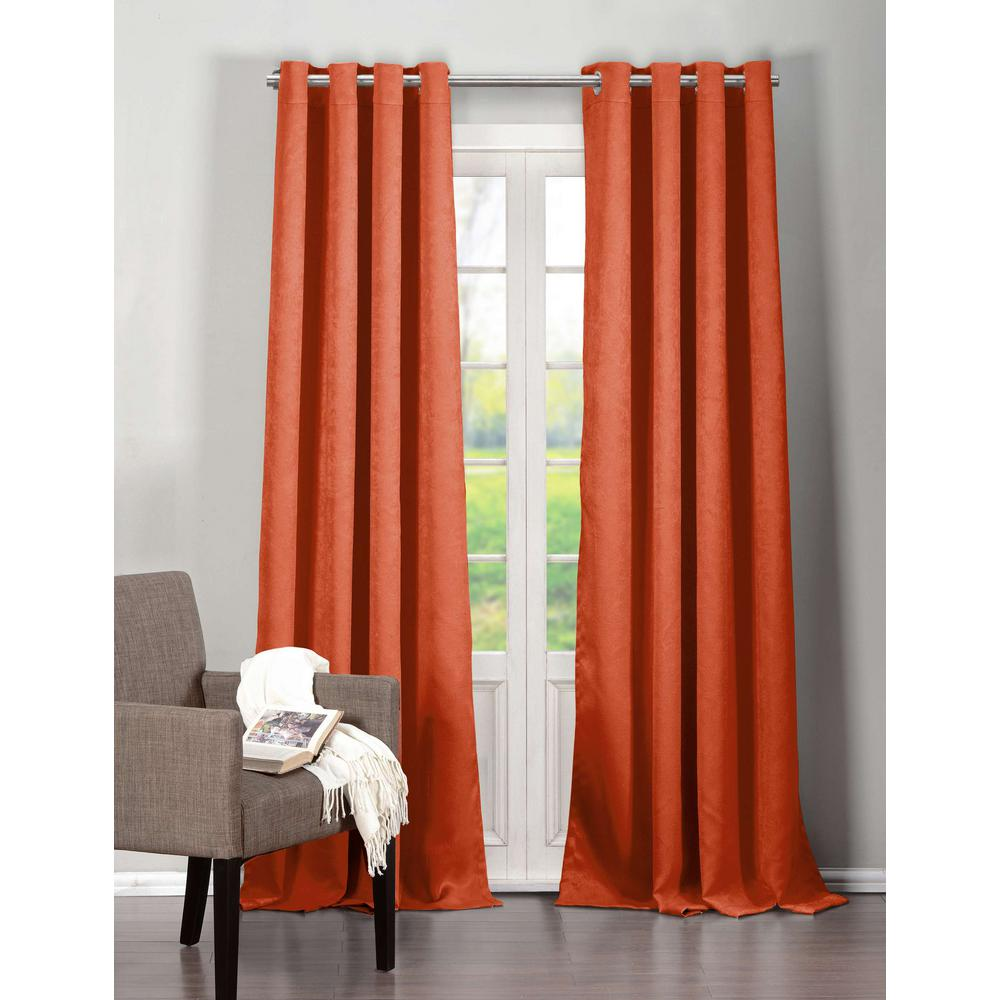 Duck River Blackout Quincy 84 in. L Blackout Grommet Panel in Orange Spice (2-Pack)