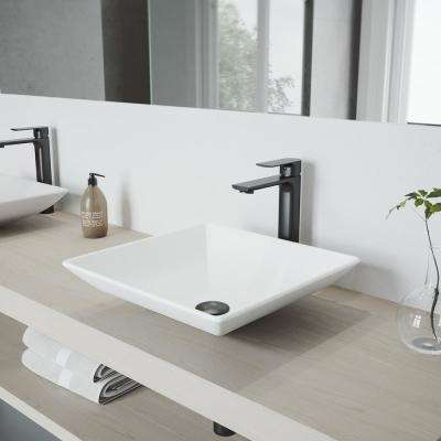 Marigold Vessel Sink in White Matte Stone with Norfolk Faucet in Chrome and Pop-Up Drain Included
