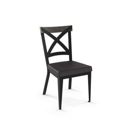 Snyder Black Metal Charcoal Black Cushion Light Grey Wood Dining Chair