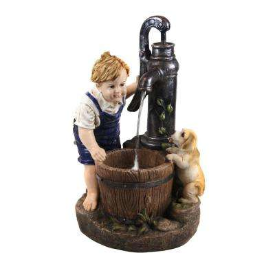 26 in. Boy and Water Pump Fountain with LED Light