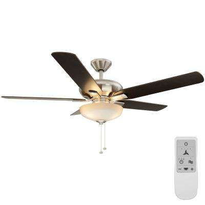 Holly Springs 52 in. Brushed Nickel LED Ceiling Fan with Light Kit Works with Google Assistant and Alexa