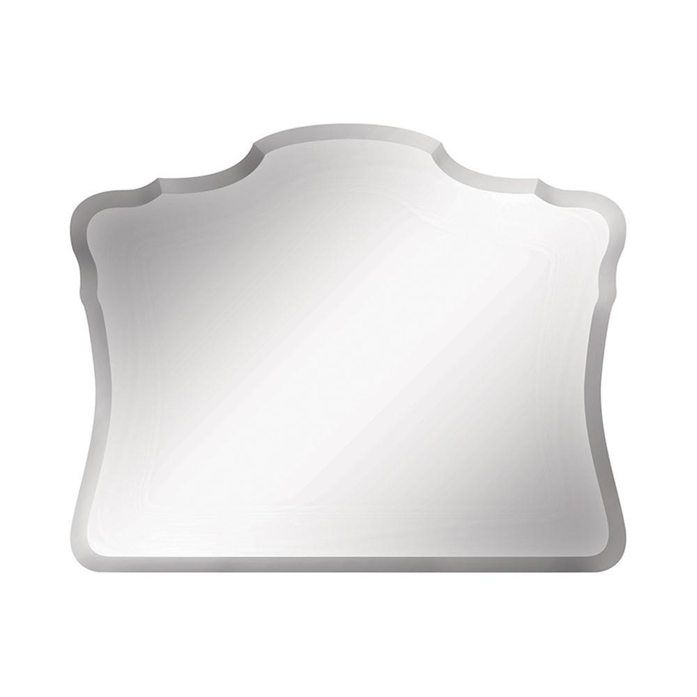 28.75 in. W x 23 in. H Frameless Oval Flush Mount;Beveled Edge Bathroom Vanity Mirror in Silver