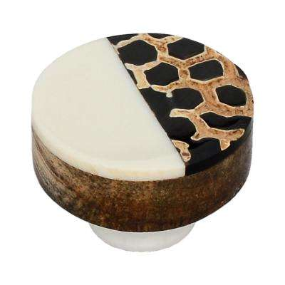 Stone Pattern 1-1/3 in. White Half and Half Round Cabinet Knob