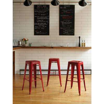 30.25 in. Red Bar Stool (Set of 4)