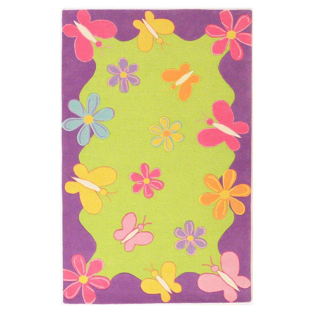 Kas Rugs Spring Fun Lime/Purple 3 ft. 3 in. x 5 ft. 3 in. Area Rug