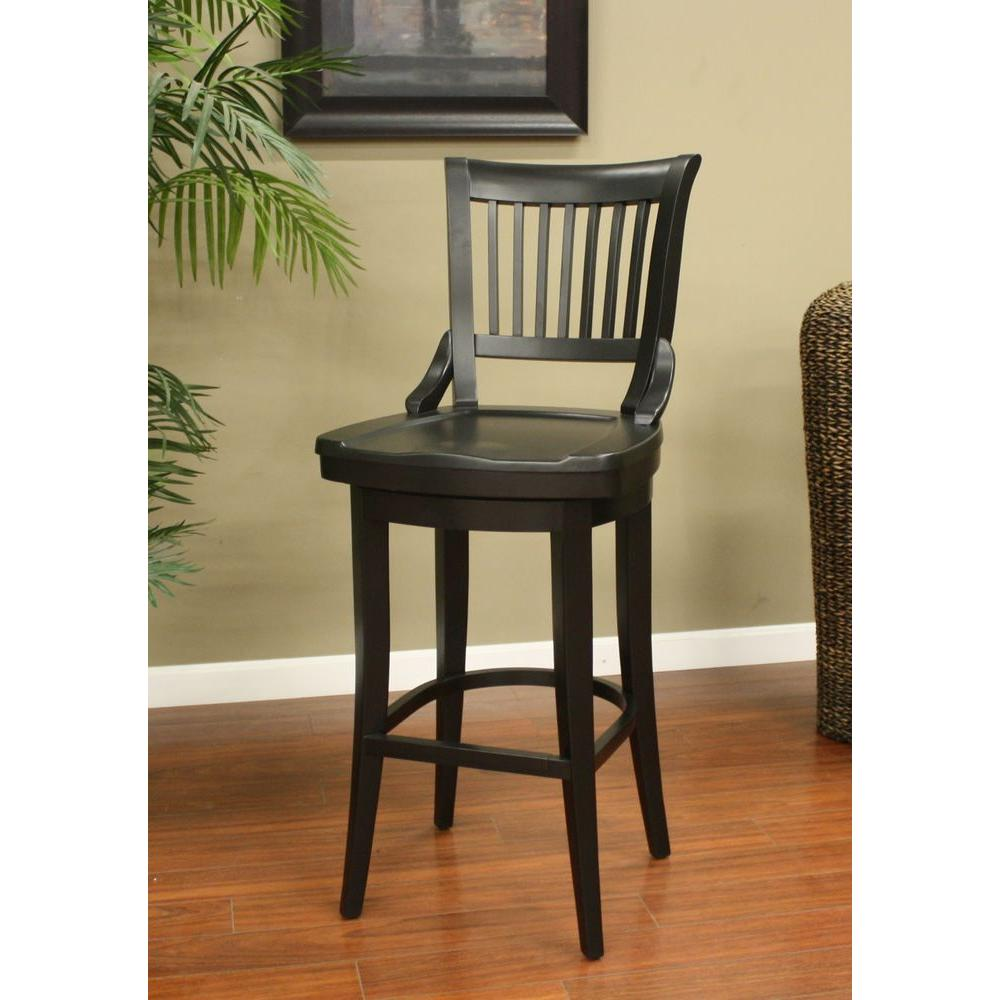 Home Decorators Collection Jacob 30 In Black Bar Stool With Back 1920900210 The Home Depot