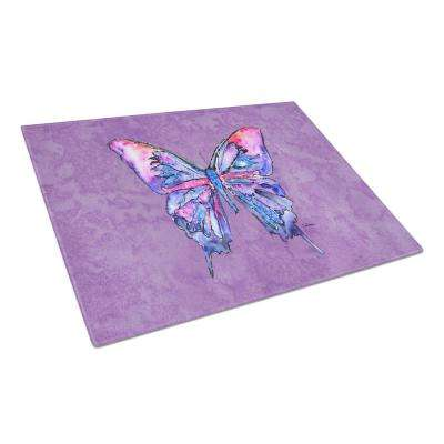 Butterfly on Purple Tempered Glass Large Cutting Board