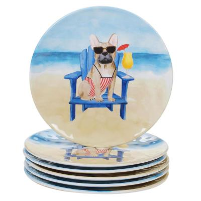 Hot Dogs 6-Piece Coastal Multi-colored Melamine Outdoor 9 in. Salad Dessert Plate Set (Service for 6)