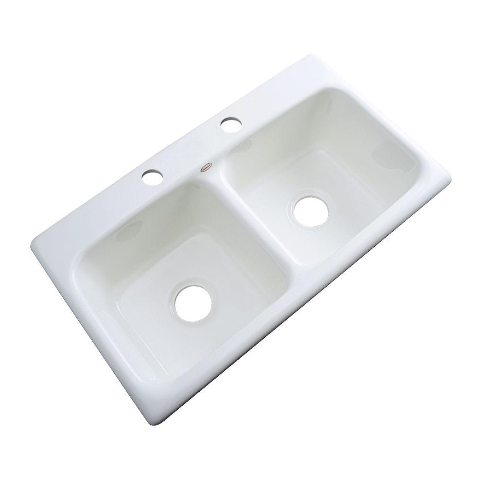 Thermocast Brighton Drop-In Acrylic 33 in. 2-Hole Double Basin Kitchen Sink in White