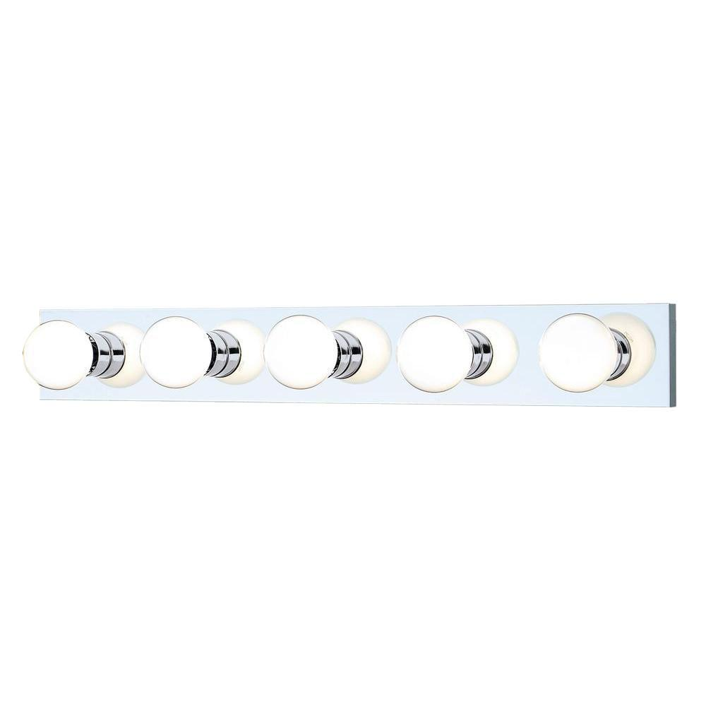 Vanity Light Home Depot: Thomas Lighting 5-Light Chrome Wall Vanity Light-SL74154