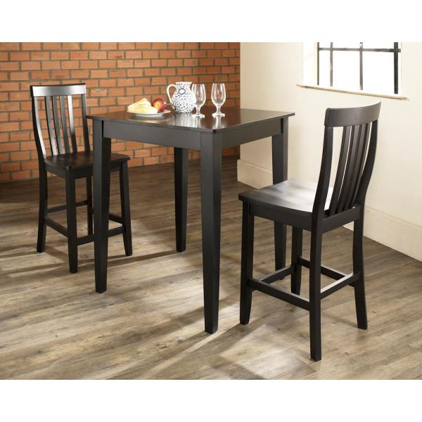 Crosley Furniture 3 Piece Black Pub Dining Set With School House Stools Kd320007bk The Home Depot