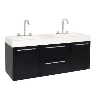 Opulento 54 in. Double Vanity in Black with Acrylic Vanity Top in White with White Basins