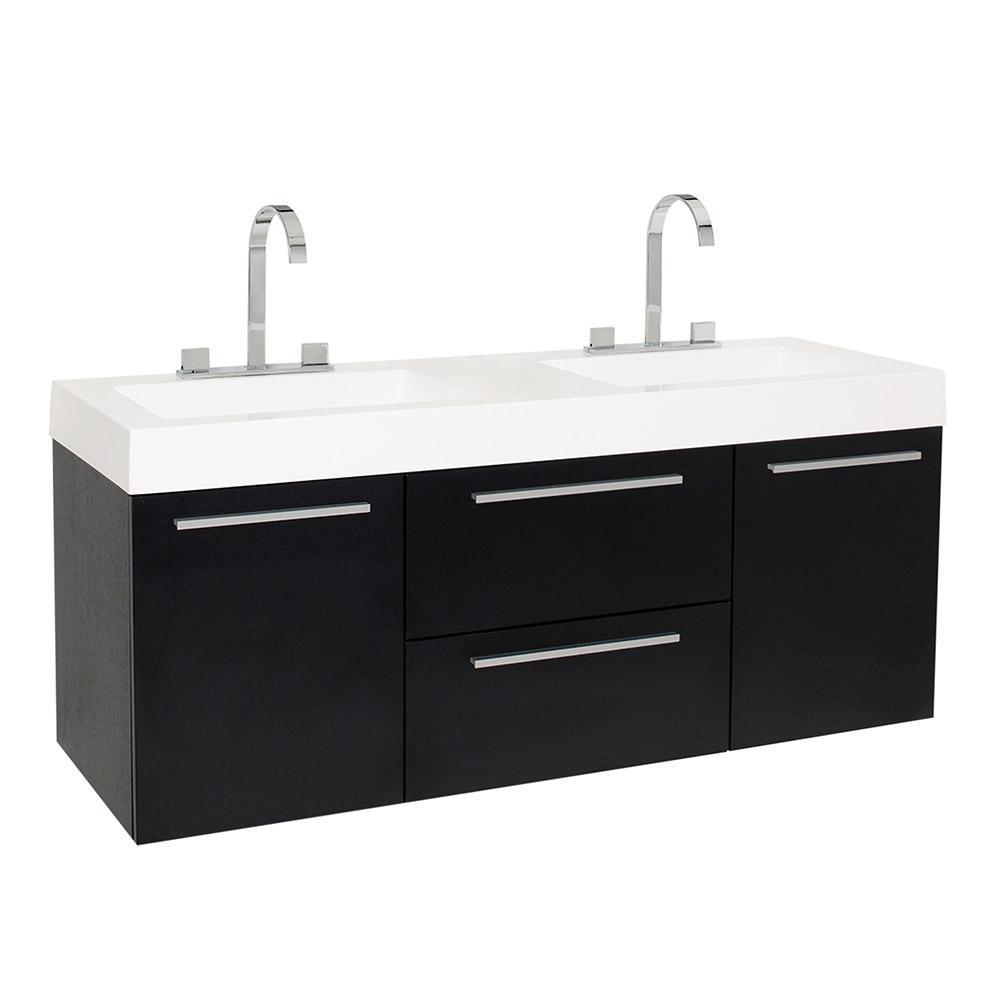 54 bathroom vanity double sink. Opulento 54 in  Double Vanity Black 50 58 Sink Bathroom Vanities Bath The Home Depot