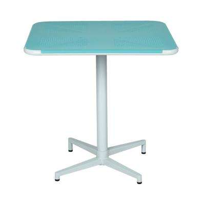 Albany 30 in. Pastel Teal/White Square Folding Table