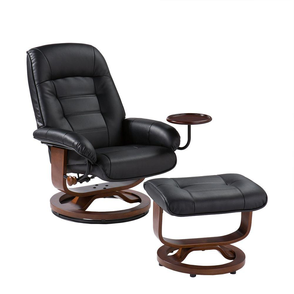 Southern Enterprises Black Leather Reclining Chair With Ottoman