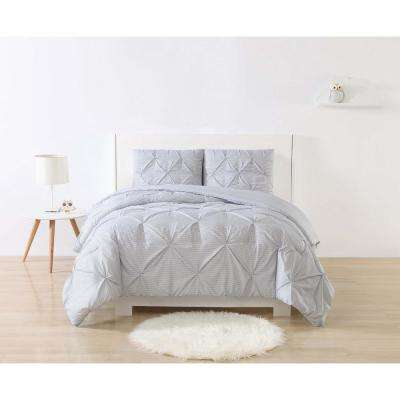 Anytime Stripe Pinch Pleat Grey Full/Queen Comforter Set with 2-Shams