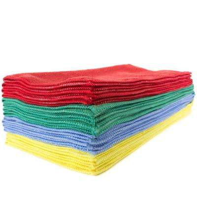 16 in. x 16 in. Assorted Colors Microfiber Cleaning Towel (12-Pack)