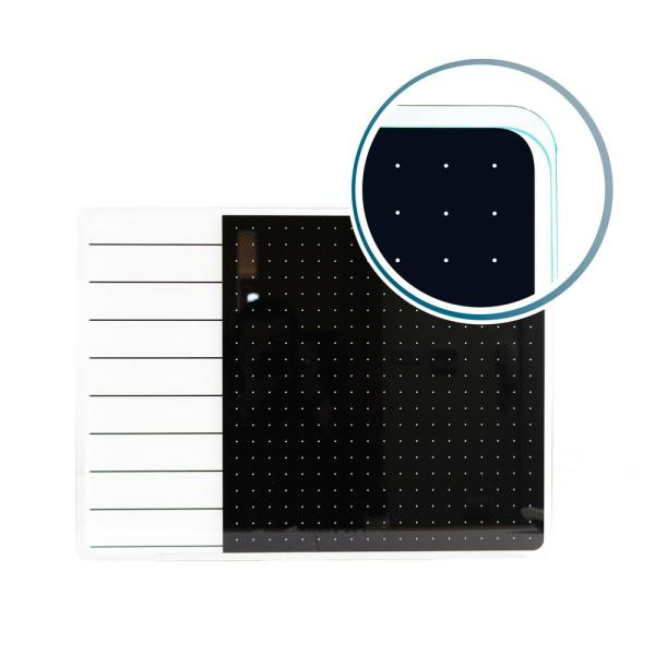 Viztex® Glacier 17 in. x 23 in. White and Black Plan and Grid Glass Dry Erase Board
