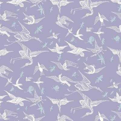 Nomad Collection Chasing Birds in Lavender Removable and Repositionable Wallpaper