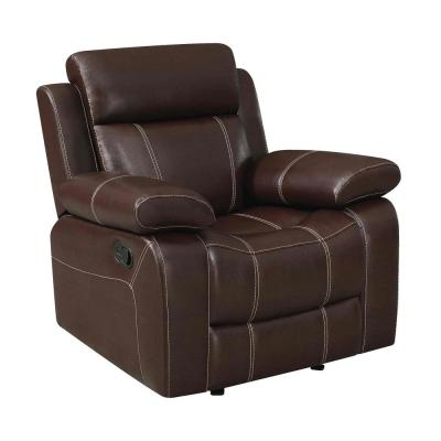 Marvelous 41 in. H Brown Glider Recliner with Pillow Arms
