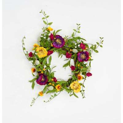 22 in. Mixed Flower Wreath With Pods on Natural Twig Wreath