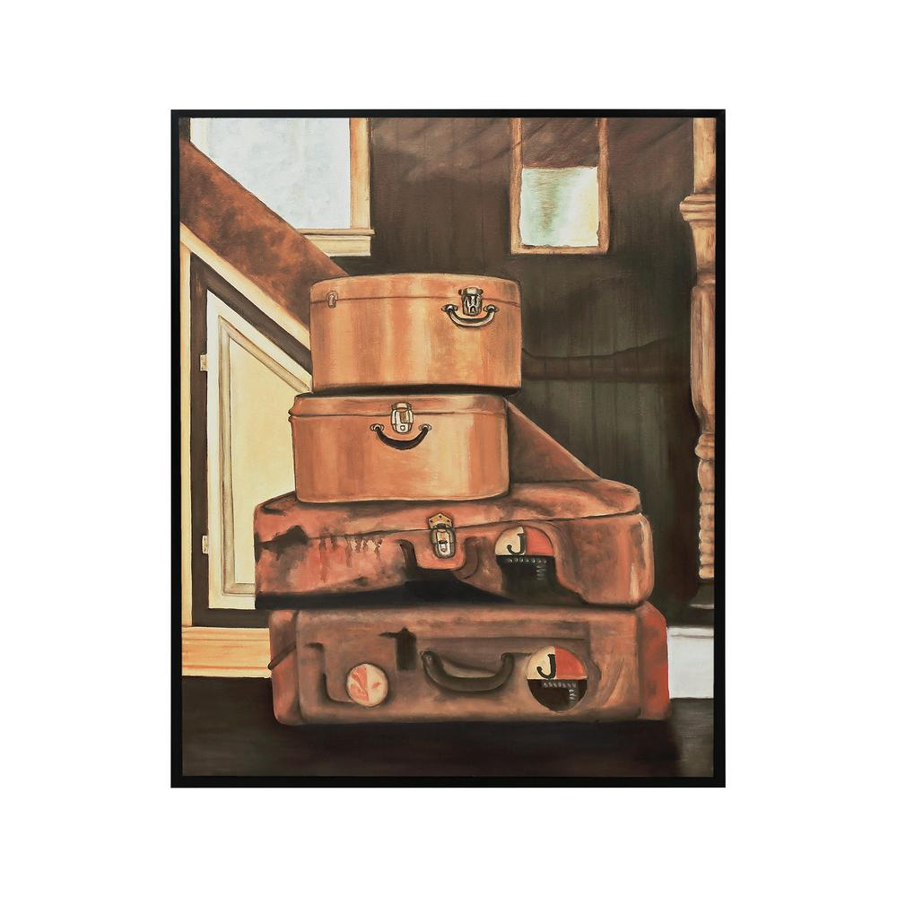 "31 in. x 25 in. ""Leather Luggage"" Hand Painted Framed Canvas"