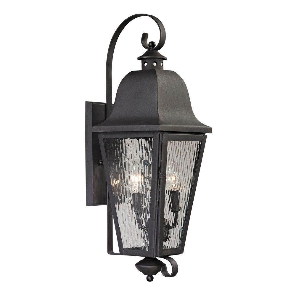 Titan Lighting Ipswich Forge Collection 2-Light Charcoal Outdoor ...
