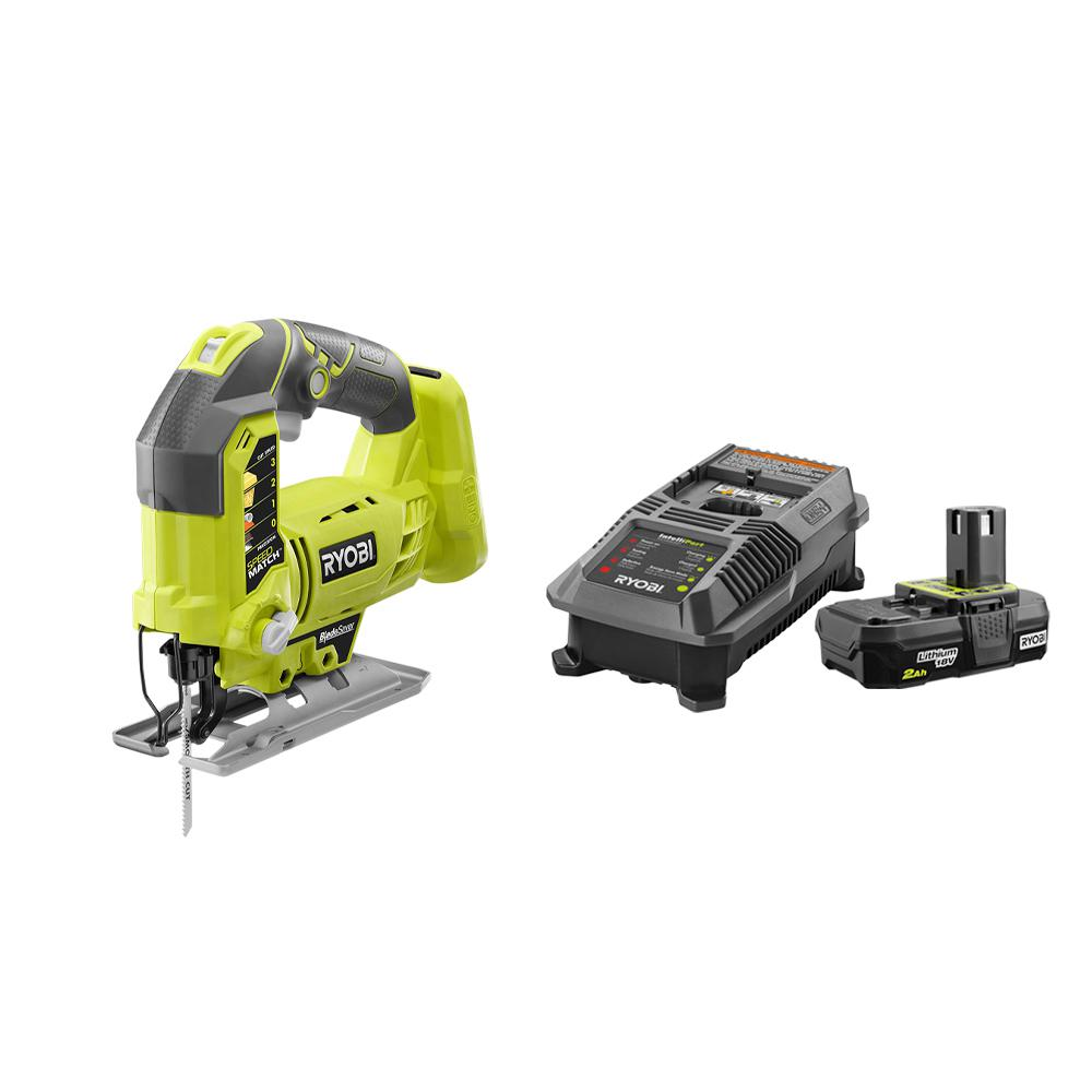 RYOBI 18-Volt ONE+ Cordless Orbital Jig Saw with Lithium-Ion 2.0 Ah Battery, Dual Chemistry IntelliPort Charger