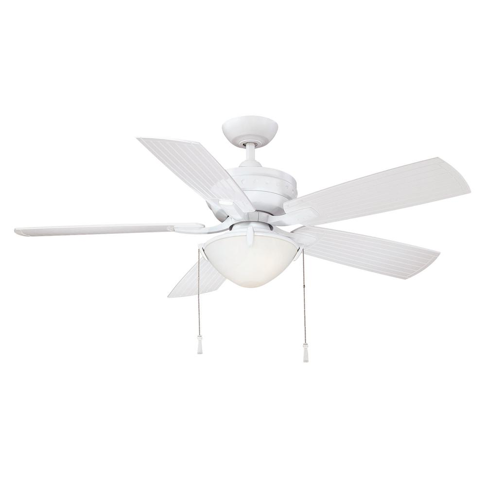Four Winds 54 in. LED Indoor/Outdoor White Ceiling Fan with Light