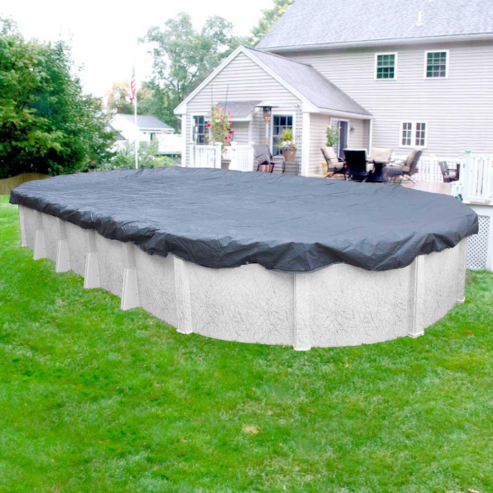 Robelle Value-Line 16 ft. x 32 ft. Oval Azure Blue Solid Above Ground Winter Pool Cover