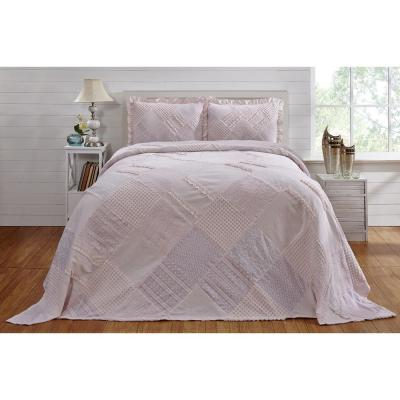 Ruffle Chenille 102 in. x 110 in. Queen bed spread pink
