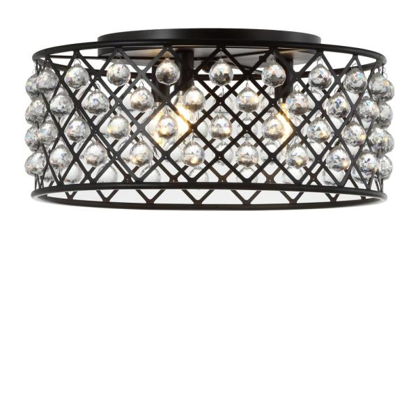 Gabrielle 19 in. Oil Rubbed Bronze/Clear Metal/Crystal LED Flush Mount Ceiling Light
