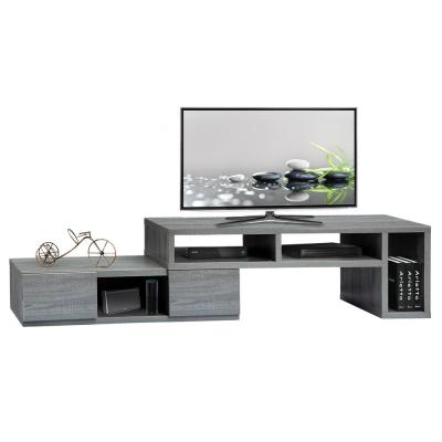 Techni Mobili 15 in. Gray Wood TV Stand Fits TVs Up to 65 in. with Storage Doors