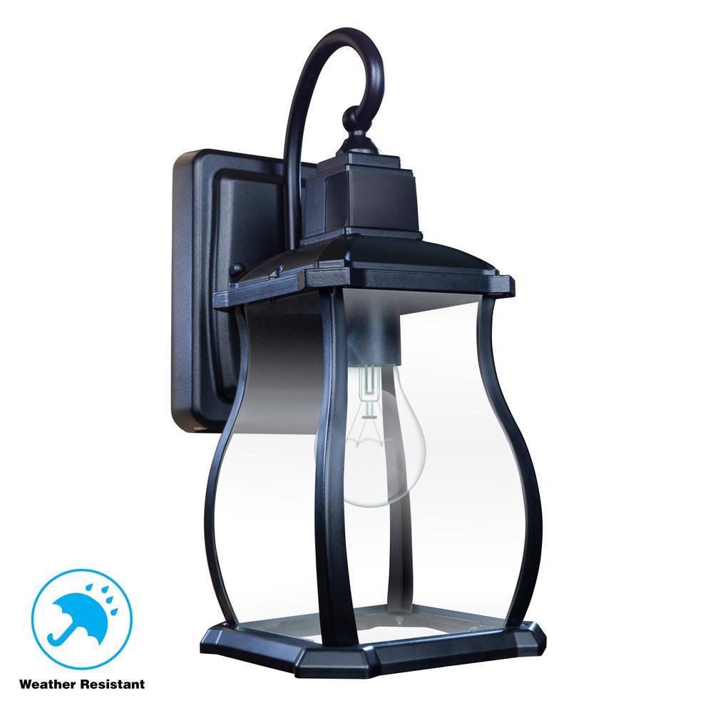 Northampton 1-Light Black 180° Motion Activated Outdoor Wall Lantern