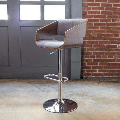 Bent Wood Adjustable Height Charcoal Swivel Cushioned Bar Stool