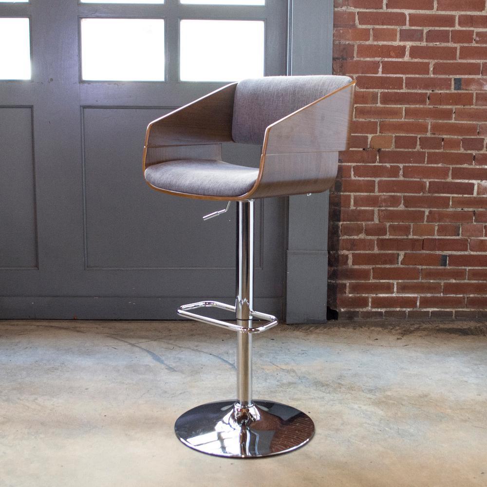 Amerihome Bent Wood Adjustable Height Charcoal Swivel